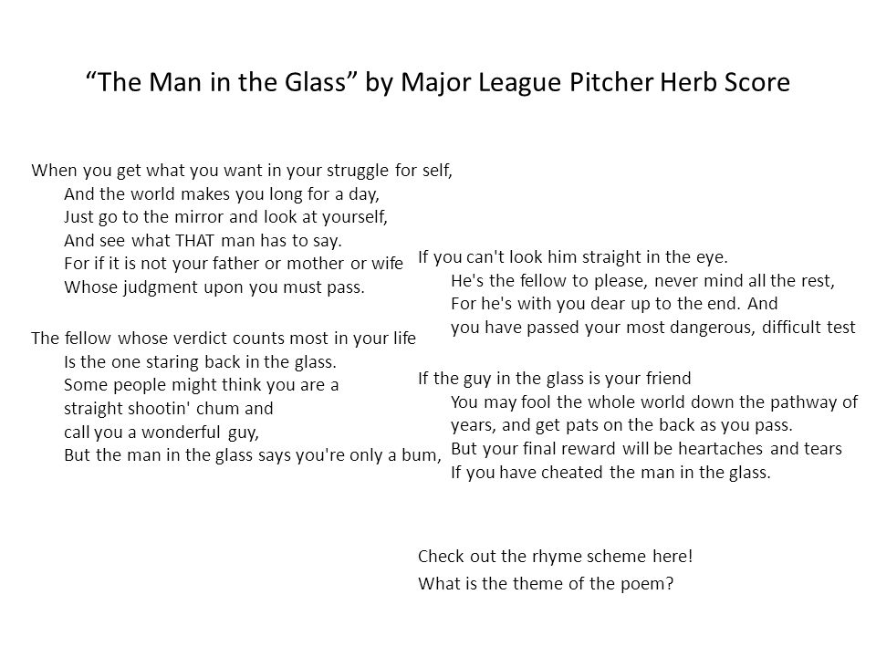 """""""The Man in the Glass"""" by Major League Pitcher Herb Score When you get what you want in your struggle for self, And the world makes you long for a day"""