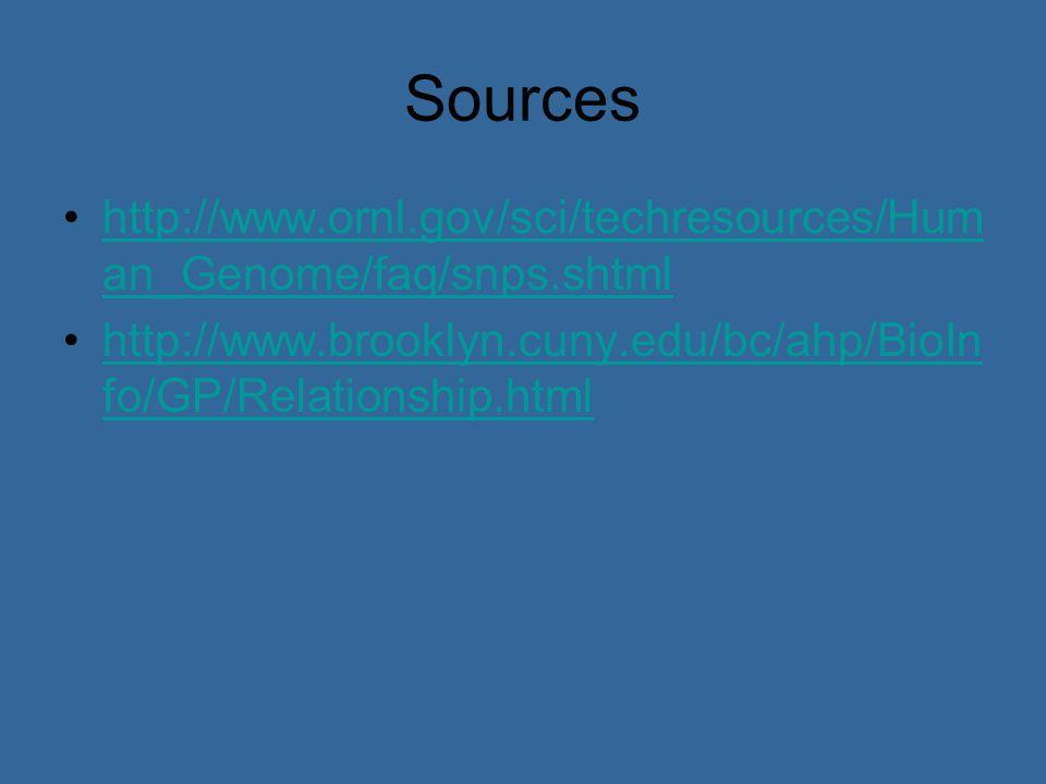 Sources http://www.ornl.gov/sci/techresources/Hum an_Genome/faq/snps.shtmlhttp://www.ornl.gov/sci/techresources/Hum an_Genome/faq/snps.shtml http://www.brooklyn.cuny.edu/bc/ahp/BioIn fo/GP/Relationship.htmlhttp://www.brooklyn.cuny.edu/bc/ahp/BioIn fo/GP/Relationship.html