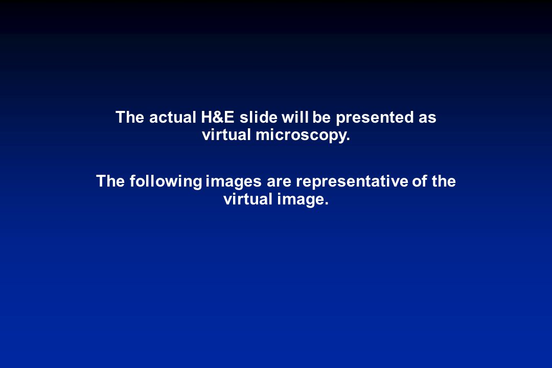 The actual H&E slide will be presented as virtual microscopy.