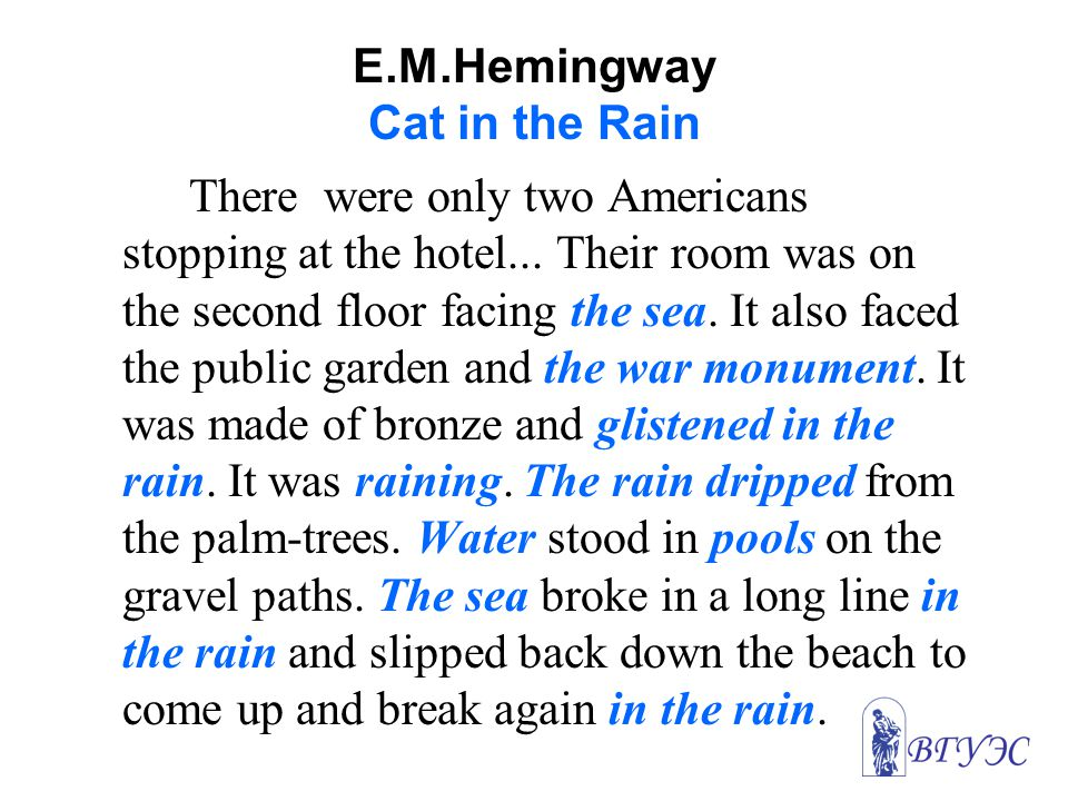 E.M.Hemingway Cat in the Rain There were only two Americans stopping at the hotel...