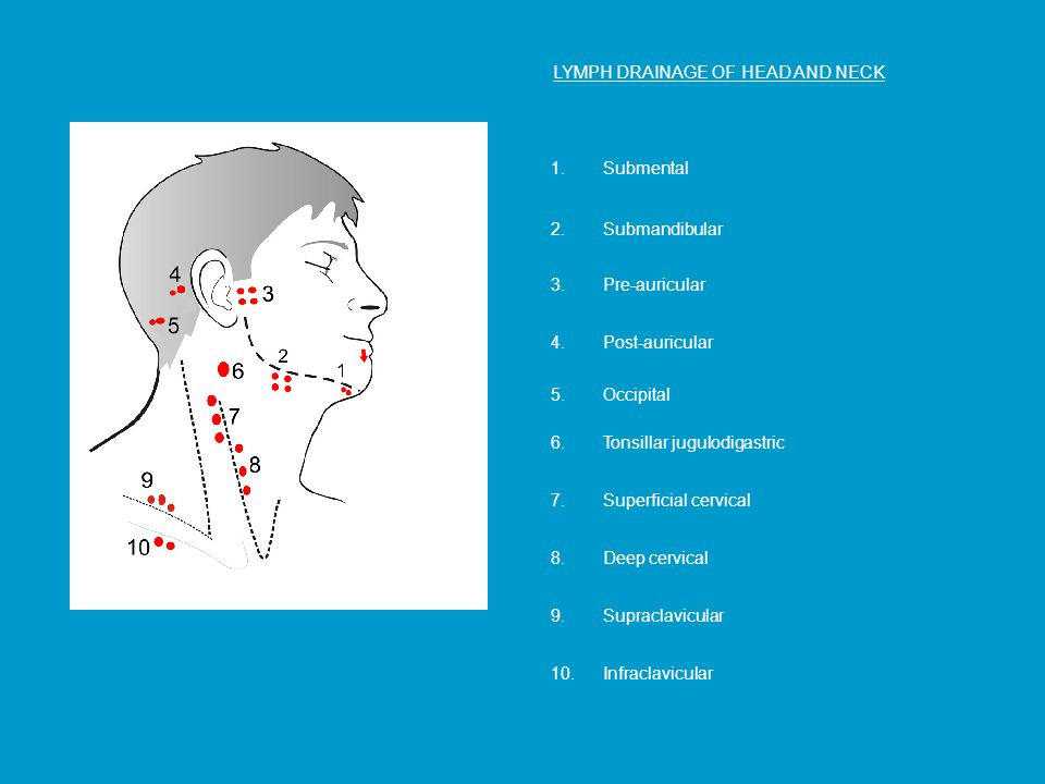 LYMPH DRAINAGE OF HEAD AND NECK 1.Submental 2.Submandibular 8.Deep cervical 3.Pre-auricular 4.Post-auricular 9.Supraclavicular 5.Occipital 6.Tonsillar