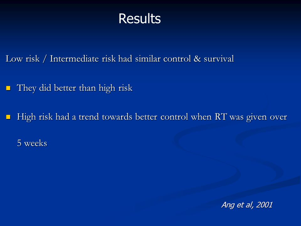 Low risk / Intermediate risk had similar control & survival They did better than high risk They did better than high risk High risk had a trend towards better control when RT was given over 5 weeks High risk had a trend towards better control when RT was given over 5 weeks Ang et al, 2001 Results