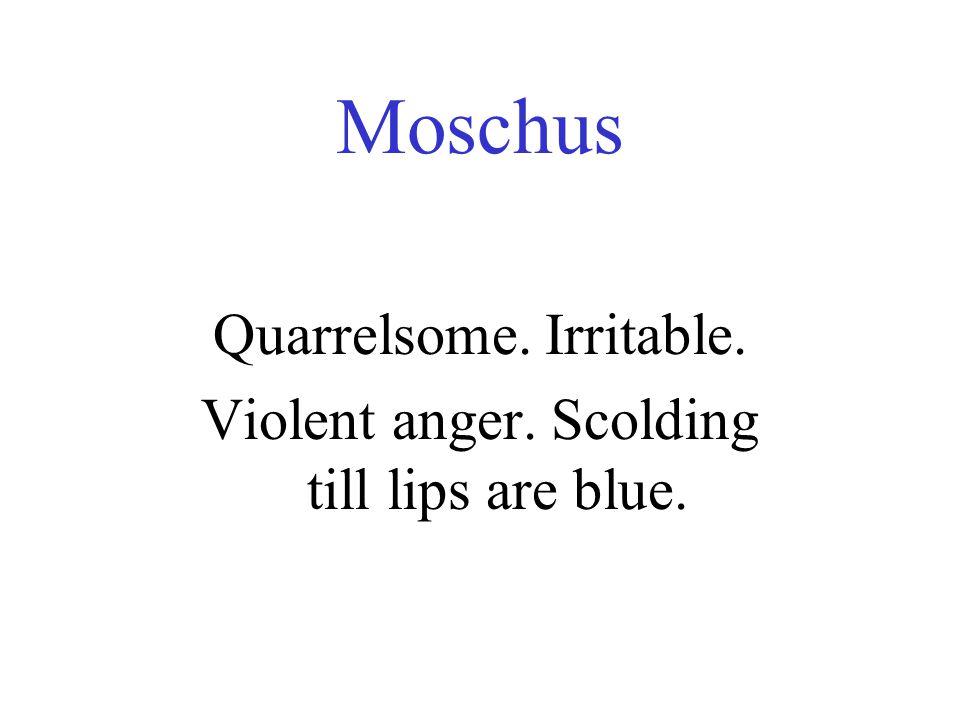 Moschus Quarrelsome. Irritable. Violent anger. Scolding till lips are blue.