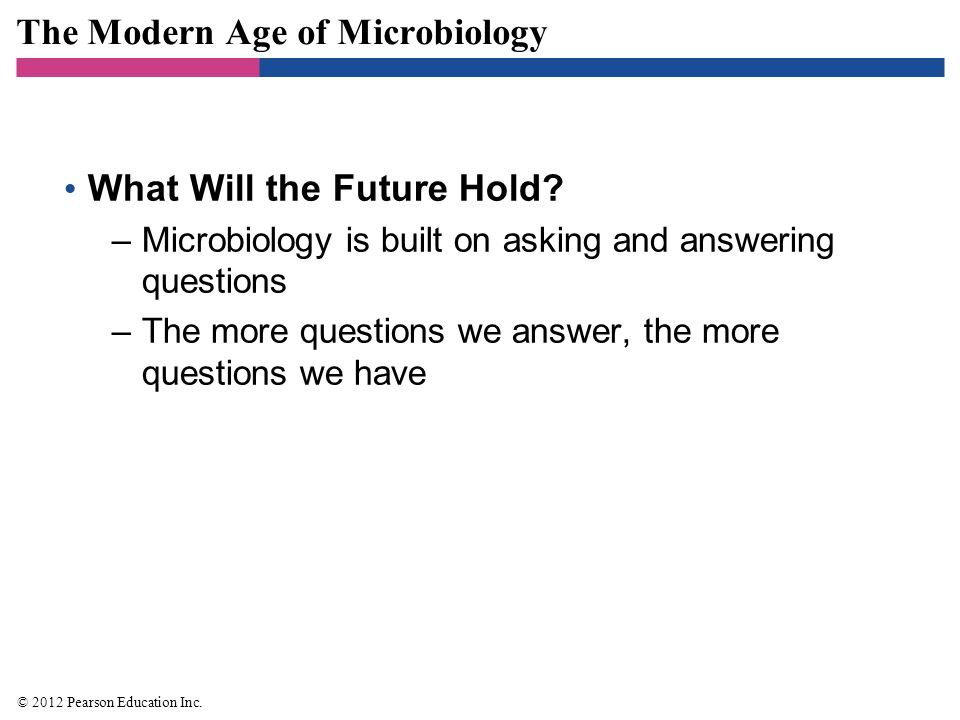 The Modern Age of Microbiology What Will the Future Hold? –Microbiology is built on asking and answering questions –The more questions we answer, the