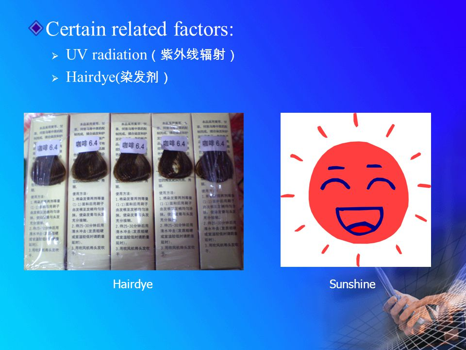 Certain related factors:  UV radiation (紫外线辐射)  Hairdye ( 染发剂) HairdyeSunshine