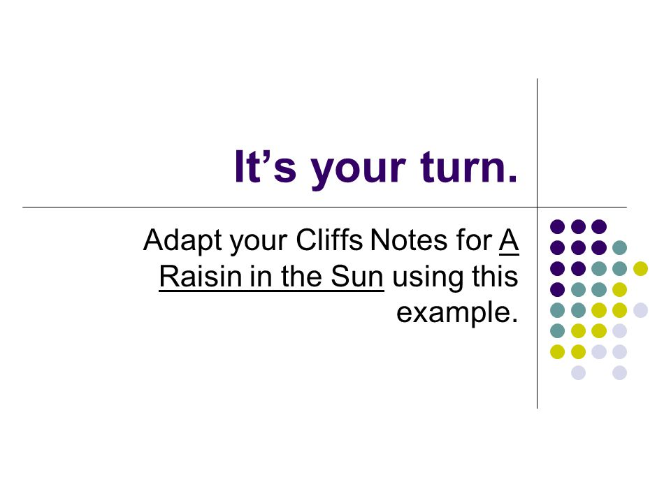 It's your turn. Adapt your Cliffs Notes for A Raisin in the Sun using this example.