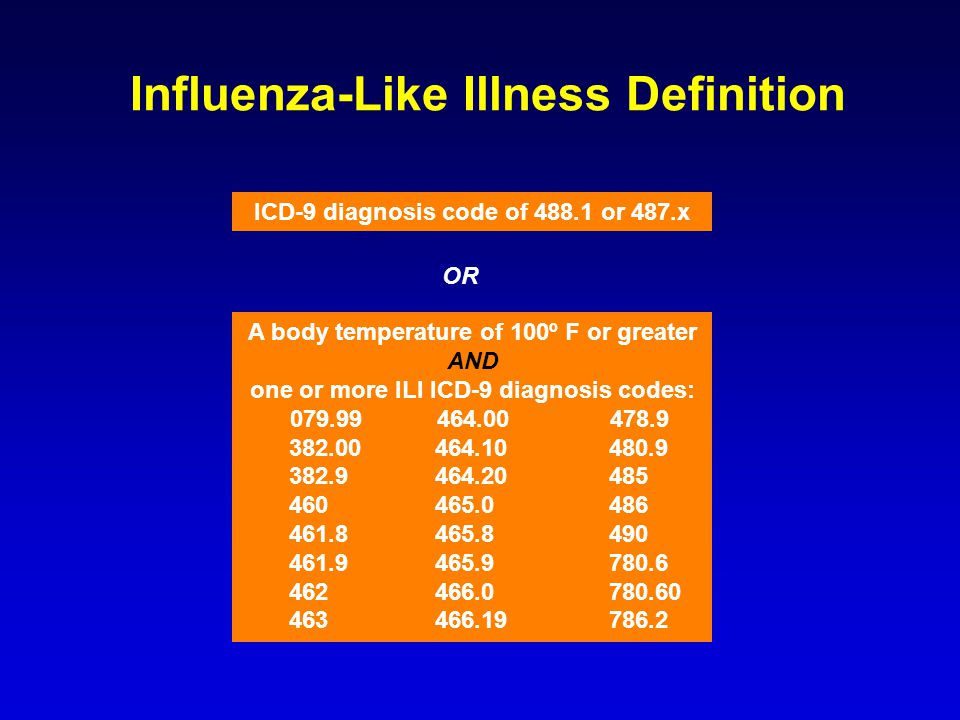 OR Influenza-Like Illness Definition ICD-9 diagnosis code of 488.1 or 487.x A body temperature of 100º F or greater AND one or more ILI ICD-9 diagnosis codes: 079.99 464.00 478.9 382.00 464.10 480.9 382.9 464.20 485 460 465.0 486 461.8 465.8 490 461.9 465.9 780.6 462 466.0 780.60 463 466.19 786.2