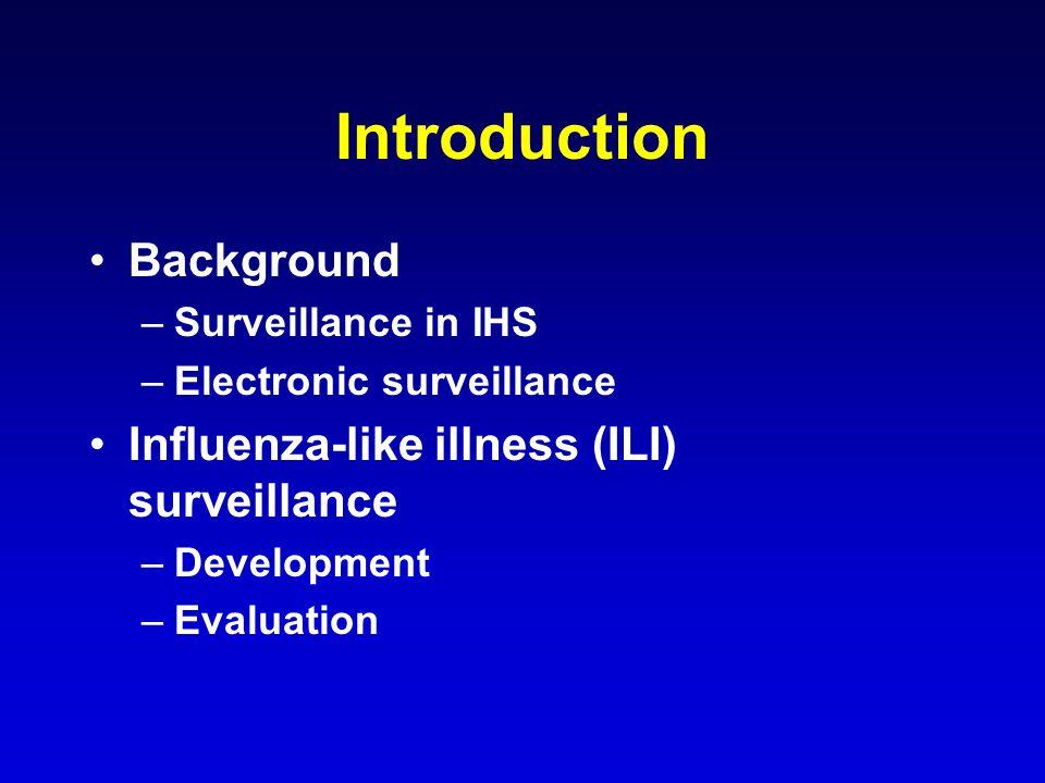 Introduction Background –Surveillance in IHS –Electronic surveillance Influenza-like illness (ILI) surveillance –Development –Evaluation