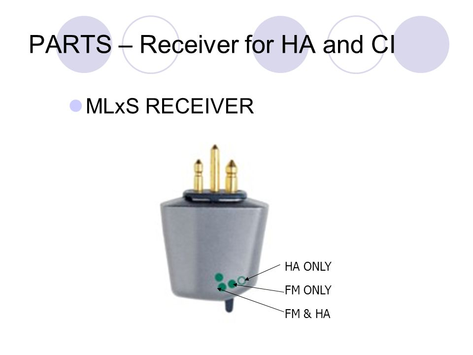 PARTS – Receiver for HA and CI MLxS RECEIVER HA ONLY FM ONLY FM & HA