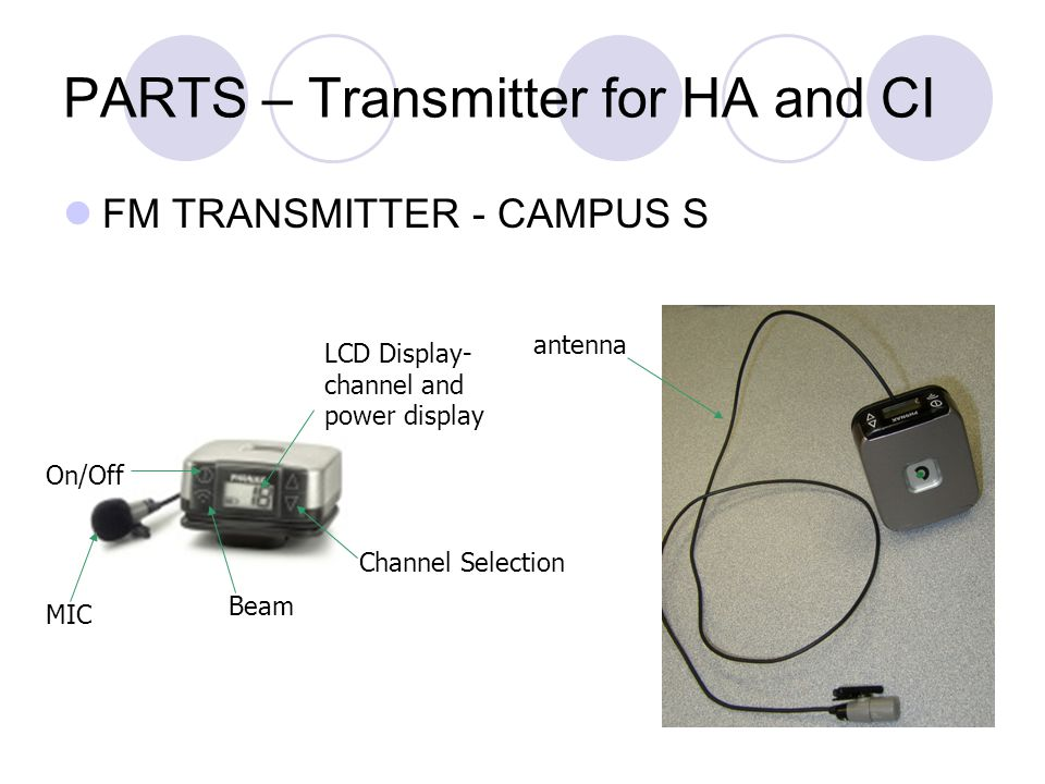 PARTS – Transmitter for HA and CI FM TRANSMITTER - CAMPUS S LCD Display- channel and power display Channel Selection Beam MIC On/Off antenna