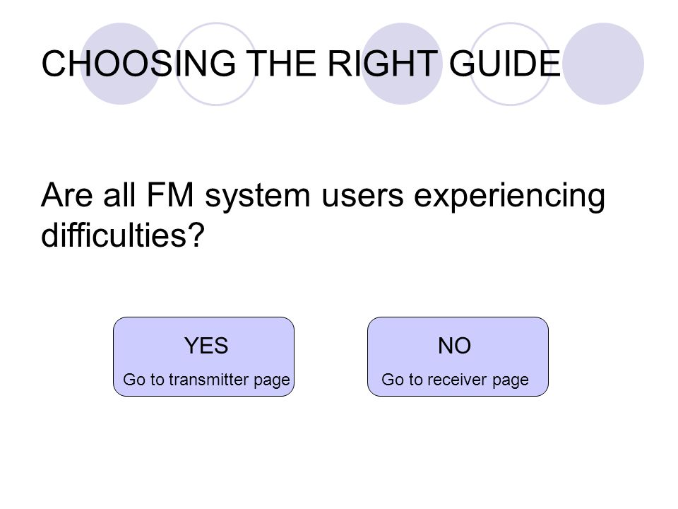 CHOOSING THE RIGHT GUIDE Are all FM system users experiencing difficulties.