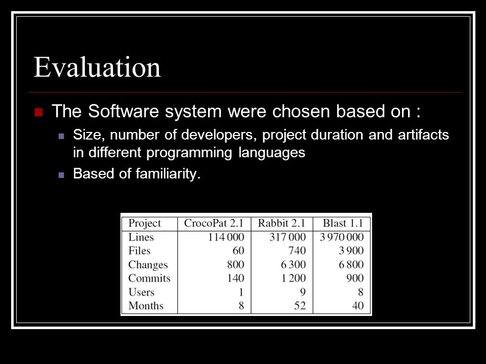 Evaluation The Software system were chosen based on : Size, number of developers, project duration and artifacts in different programming languages Ba
