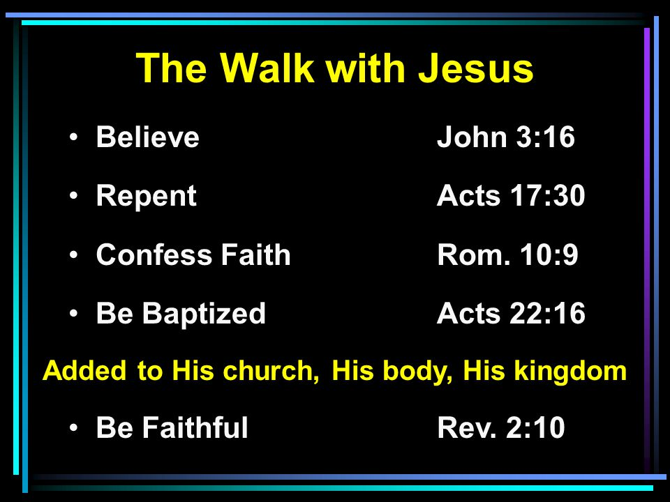 The Walk with Jesus Believe John 3:16 RepentActs 17:30 Confess FaithRom. 10:9 Be BaptizedActs 22:16 Added to His church, His body, His kingdom Be Fait