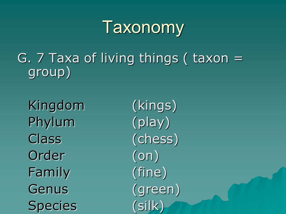 Taxonomy G. 7 Taxa of living things ( taxon = group) Kingdom (kings) Phylum (play) Class (chess) Order (on) Family (fine) Genus (green) Species (silk)