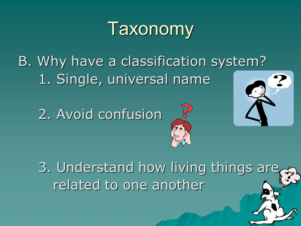 Taxonomy B. Why have a classification system? 1. Single, universal name 2. Avoid confusion 3. Understand how living things are related to one another