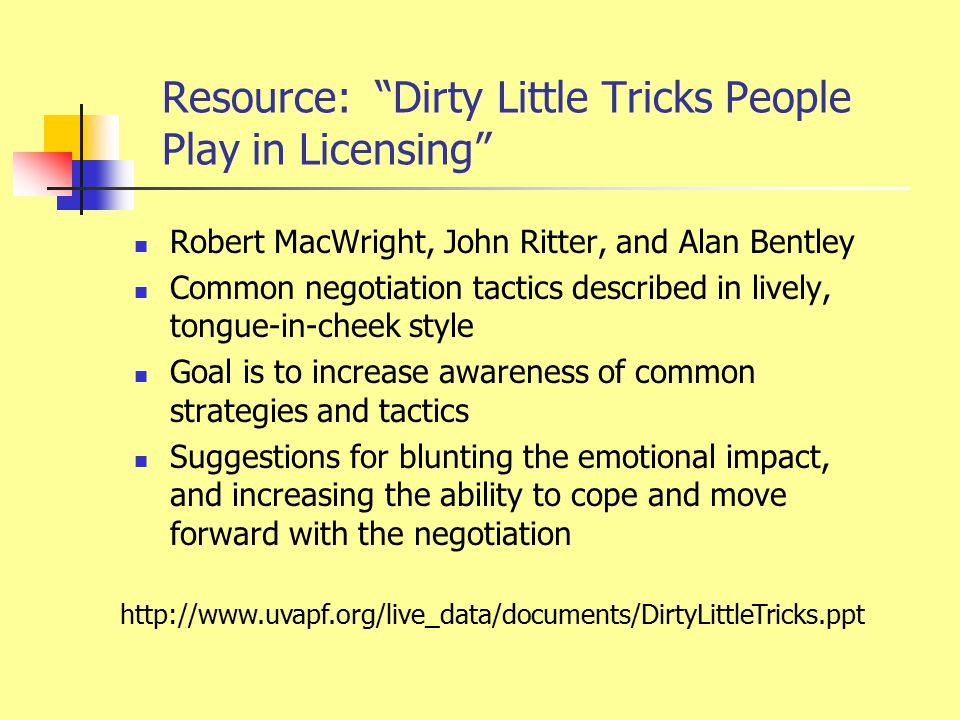 "Resource: ""Dirty Little Tricks People Play in Licensing"" Robert MacWright, John Ritter, and Alan Bentley Common negotiation tactics described in livel"