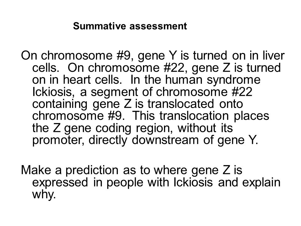 On chromosome #9, gene Y is turned on in liver cells.