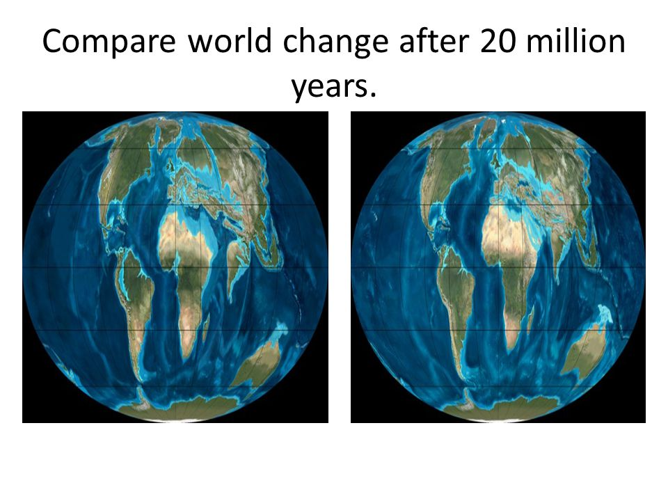 Compare world change after 20 million years.