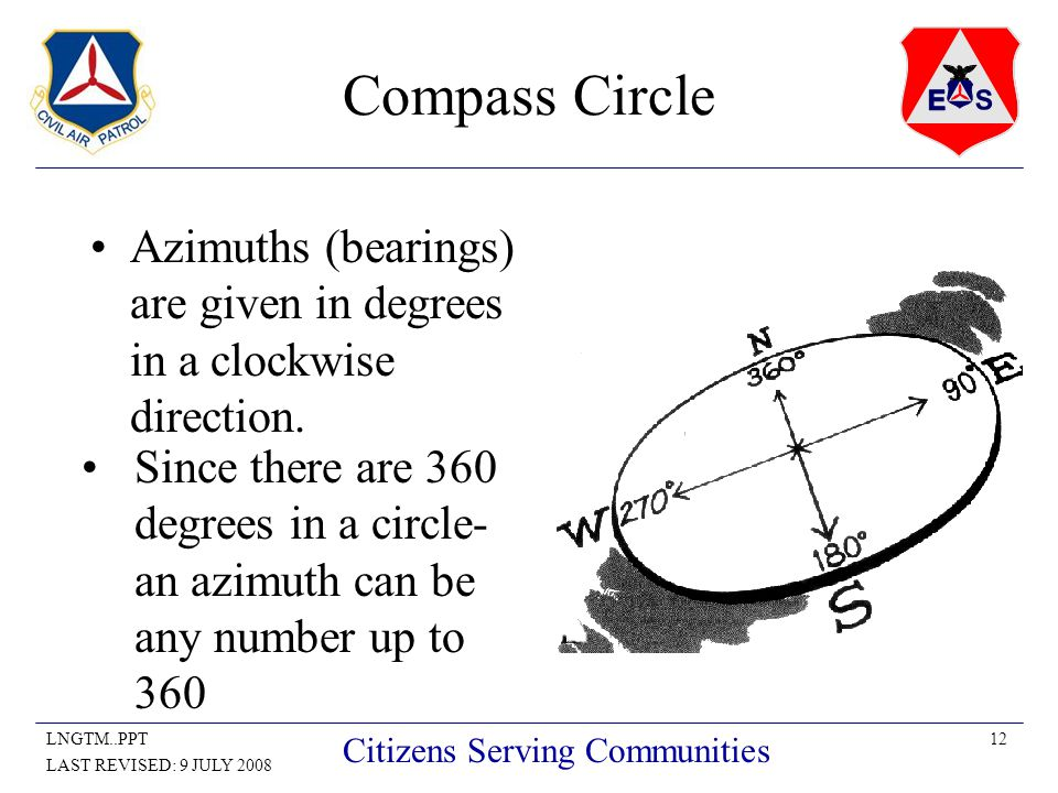 12LNGTM..PPT LAST REVISED: 9 JULY 2008 Citizens Serving Communities Compass Circle Azimuths (bearings) are given in degrees in a clockwise direction.