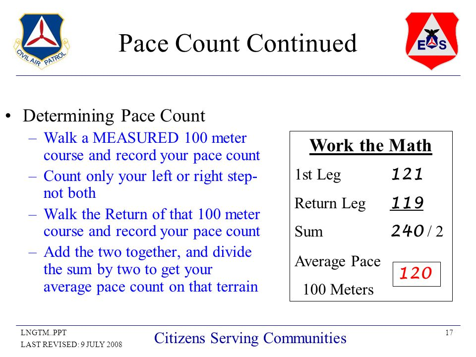 17LNGTM..PPT LAST REVISED: 9 JULY 2008 Citizens Serving Communities Pace Count Continued Determining Pace Count –Walk a MEASURED 100 meter course and record your pace count –Count only your left or right step- not both –Walk the Return of that 100 meter course and record your pace count –Add the two together, and divide the sum by two to get your average pace count on that terrain Work the Math 1st Leg 121 Return Leg 119 Sum 240 / 2 Average Pace 100 Meters 120