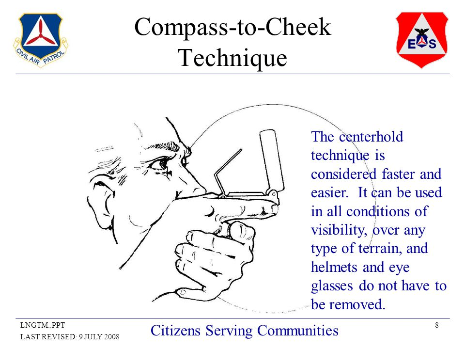 8LNGTM..PPT LAST REVISED: 9 JULY 2008 Citizens Serving Communities Compass-to-Cheek Technique The centerhold technique is considered faster and easier.