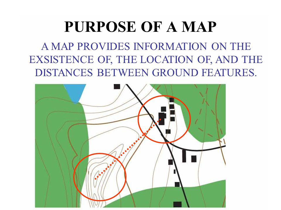 PURPOSE OF A MAP A MAP PROVIDES INFORMATION ON THE EXSISTENCE OF, THE LOCATION OF, AND THE DISTANCES BETWEEN GROUND FEATURES.
