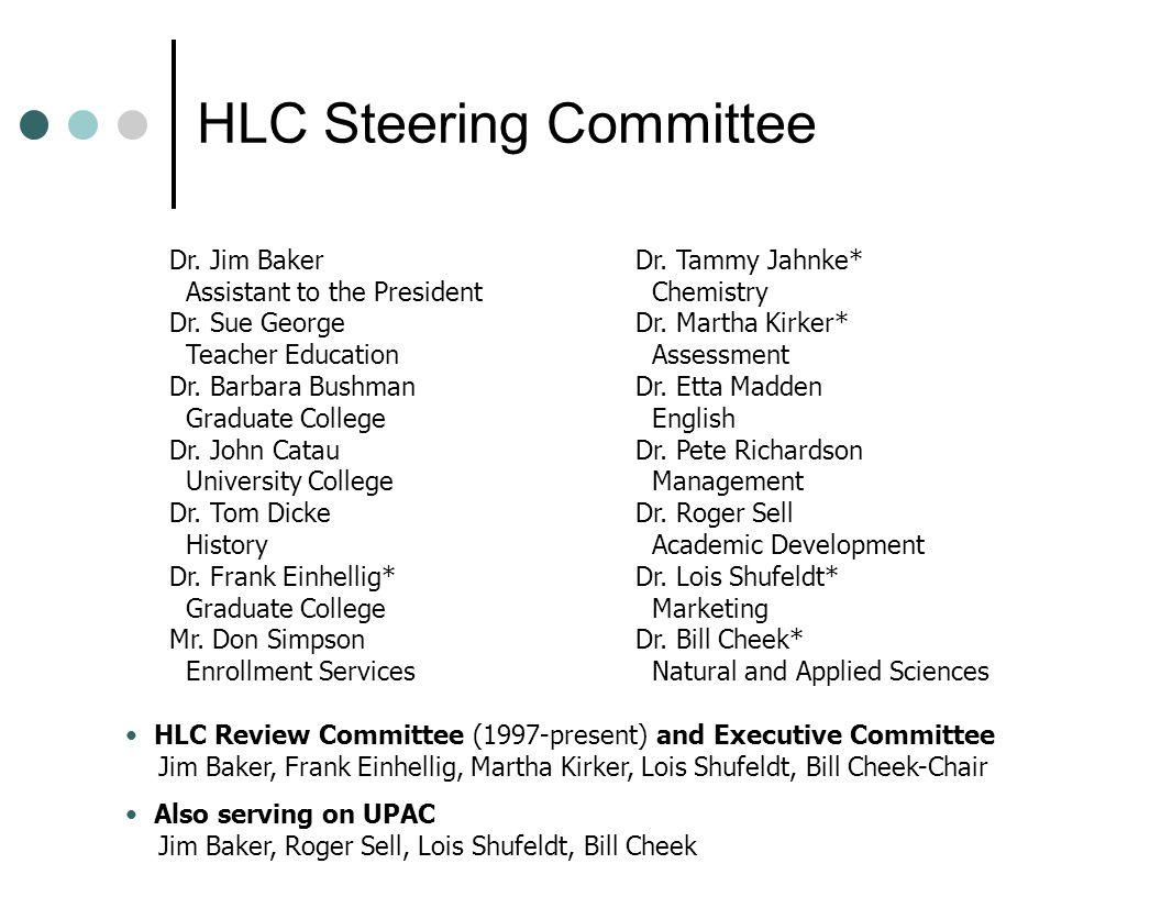 HLC Steering Committee Dr. Jim Baker Assistant to the President Dr. Sue George Teacher Education Dr. Barbara Bushman Graduate College Dr. John Catau U