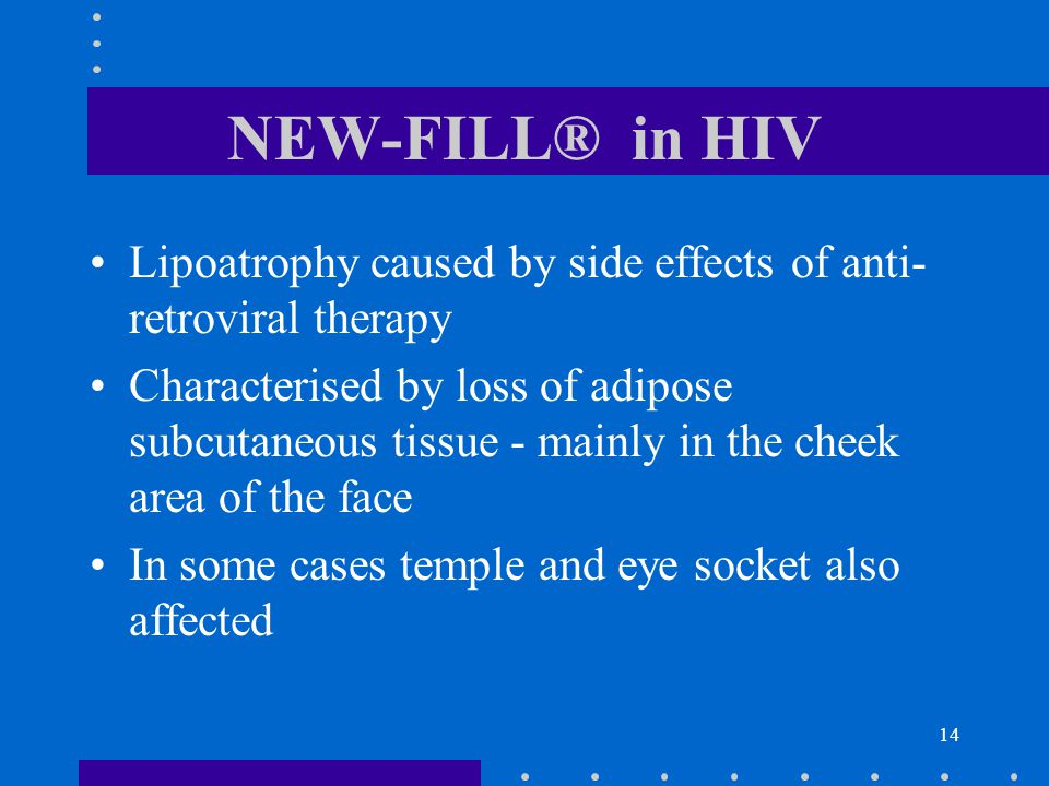 14 NEW-FILL® in HIV Lipoatrophy caused by side effects of anti- retroviral therapy Characterised by loss of adipose subcutaneous tissue - mainly in the cheek area of the face In some cases temple and eye socket also affected