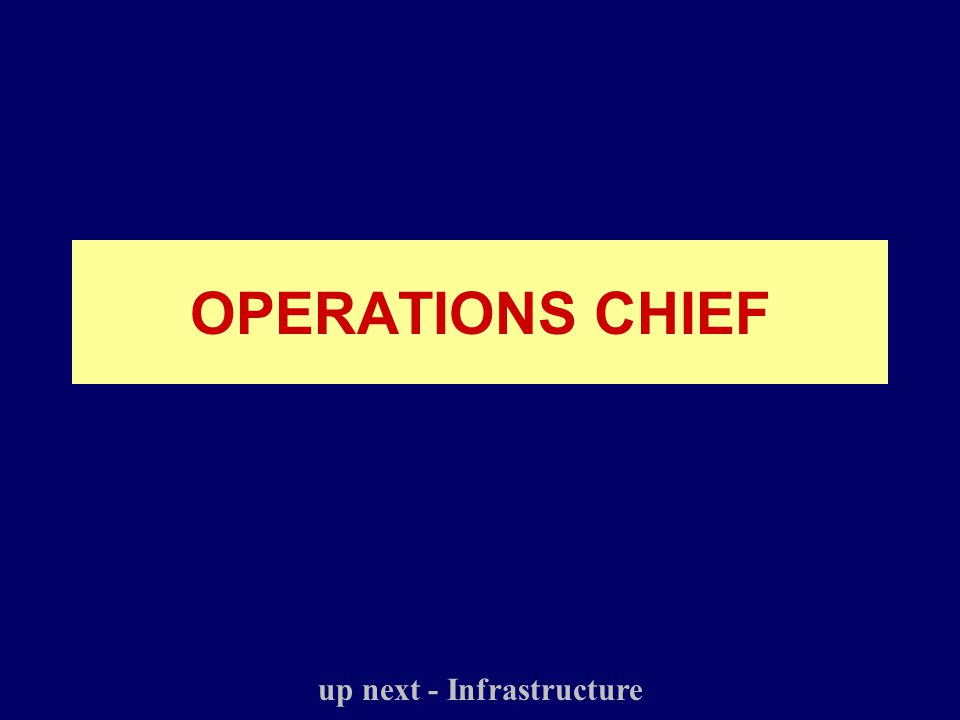 OPERATIONS CHIEF up next - Infrastructure