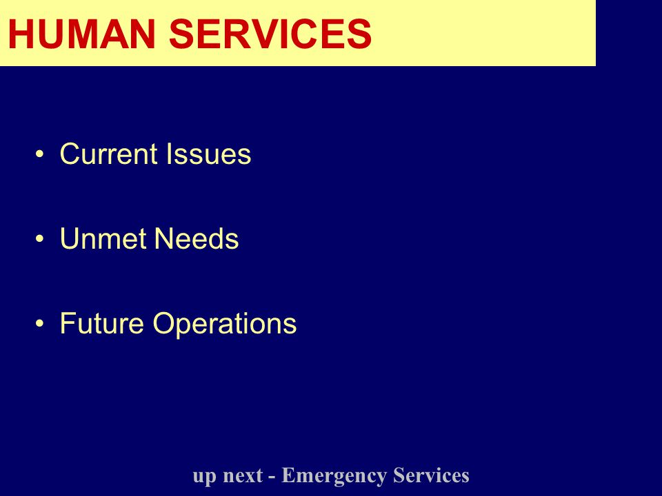 Current Issues Unmet Needs Future Operations up next - Emergency Services