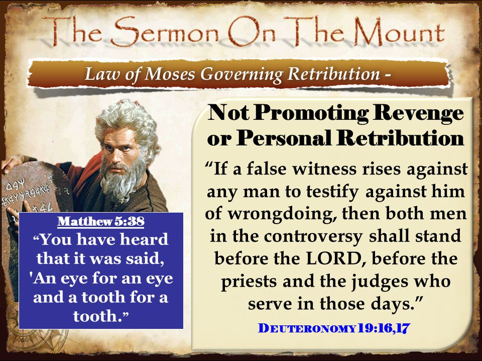 """11 Not Promoting Revenge or Personal Retribution """"If a false witness rises against any man to testify against him of wrongdoing, then both men in the"""