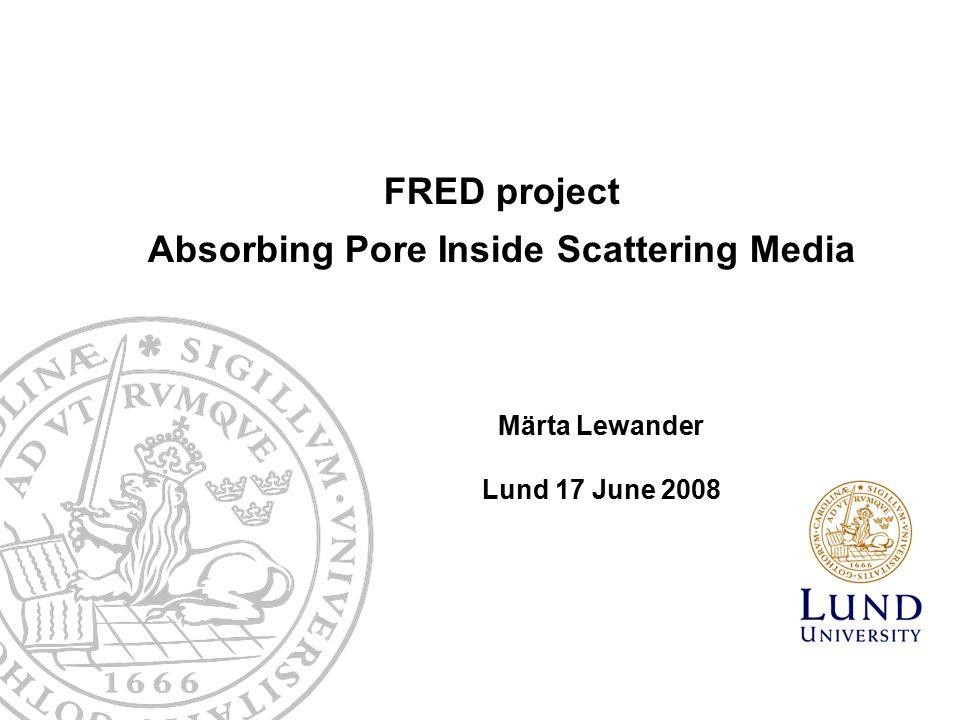 FRED project Absorbing Pore Inside Scattering Media Märta Lewander Lund 17 June 2008