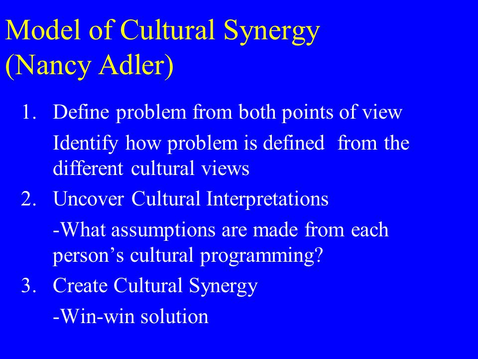 Model of Cultural Synergy (Nancy Adler) 1.Define problem from both points of view Identify how problem is defined from the different cultural views 2.