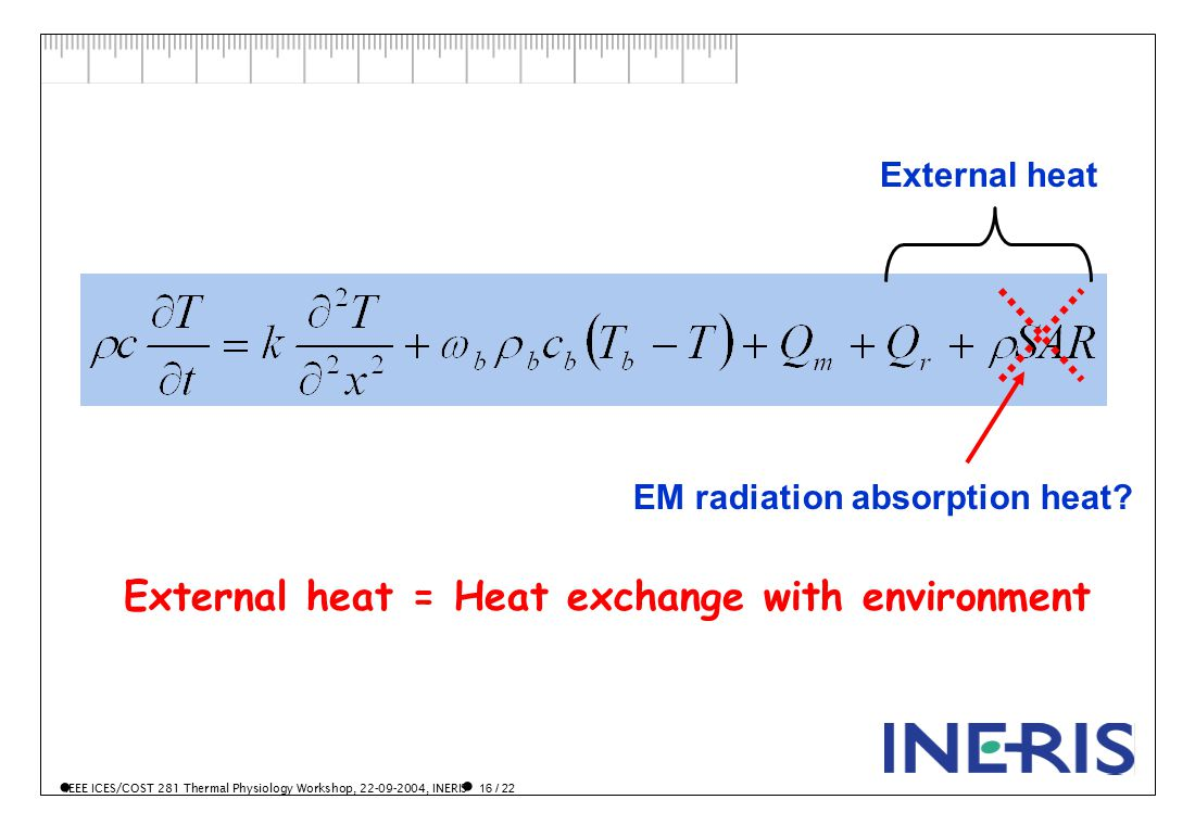 IEEE ICES/COST 281 Thermal Physiology Workshop, 22-09-2004, INERIS 16 / 22 EM radiation absorption heat.