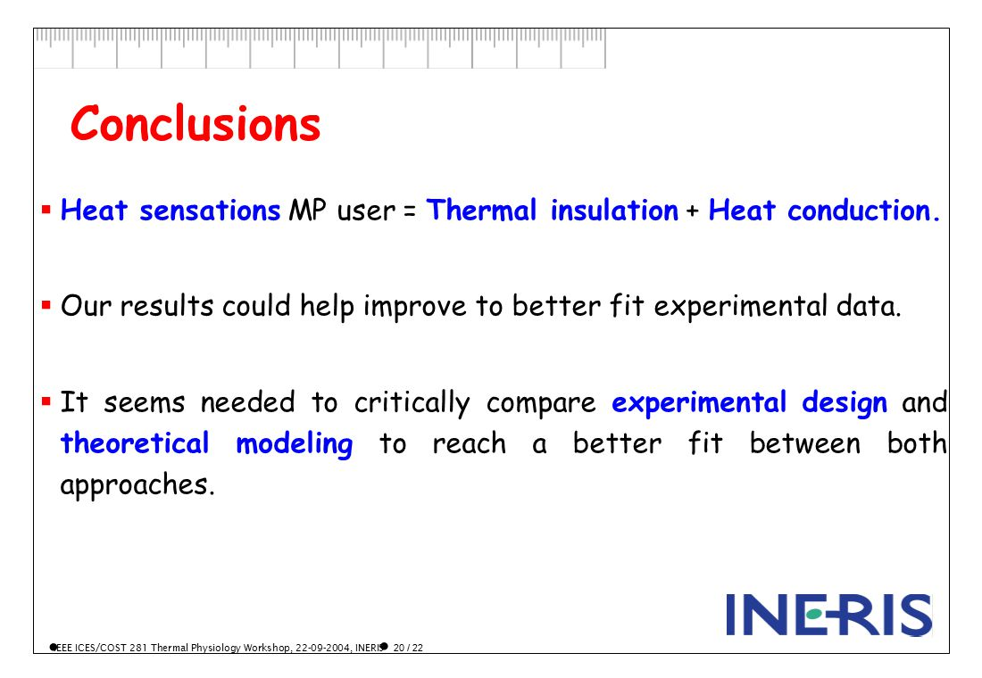 IEEE ICES/COST 281 Thermal Physiology Workshop, 22-09-2004, INERIS 20 / 22  Heat sensations MP user = Thermal insulation + Heat conduction.