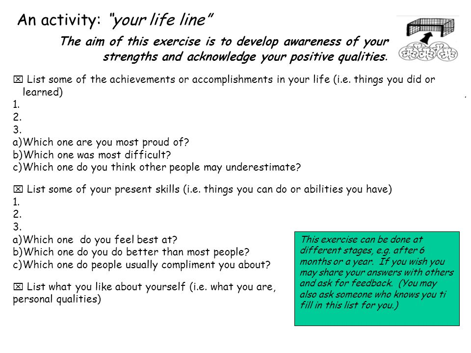 An activity: your life line  List some of the achievements or accomplishments in your life (i.e.