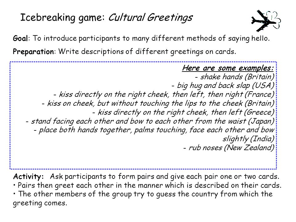 Icebreaking game: Cultural Greetings Goal: To introduce participants to many different methods of saying hello.