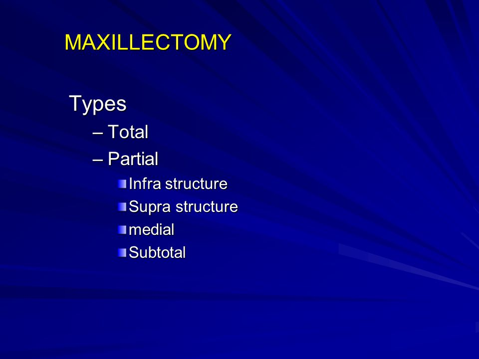 MAXILLECTOMY Types –Total –Partial Infra structure Supra structure medialSubtotal