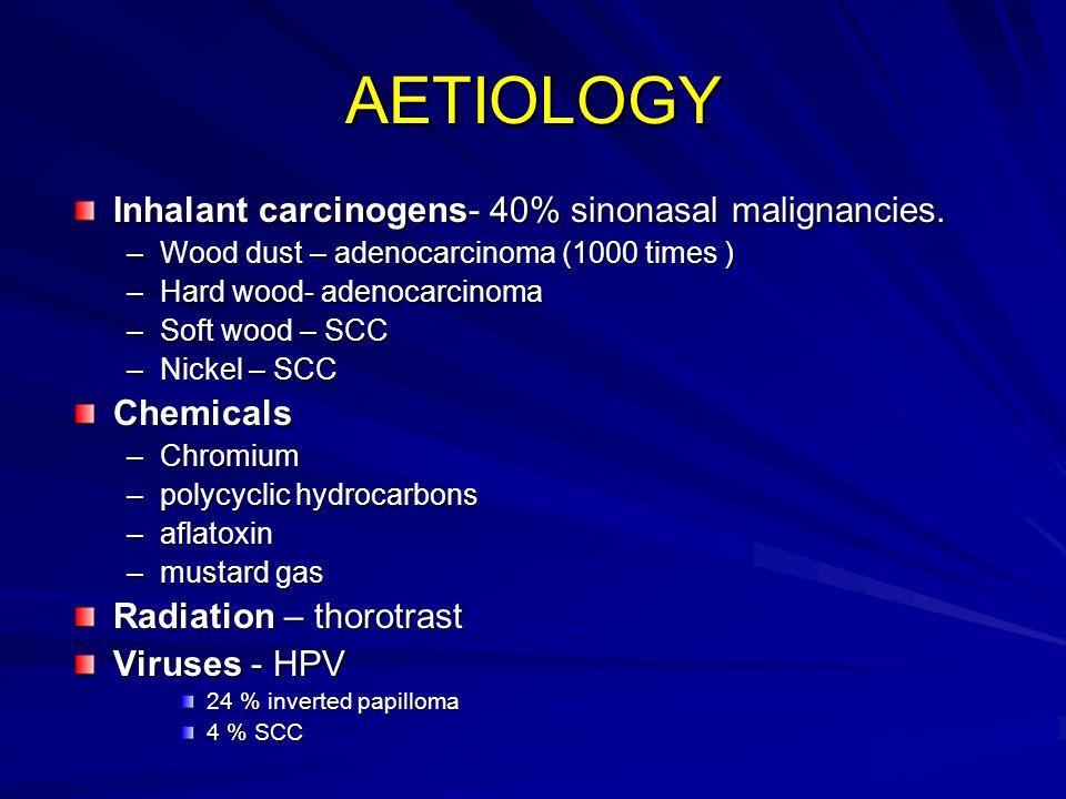 AETIOLOGY Inhalant carcinogens- 40% sinonasal malignancies. –Wood dust – adenocarcinoma (1000 times ) –Hard wood- adenocarcinoma –Soft wood – SCC –Nic