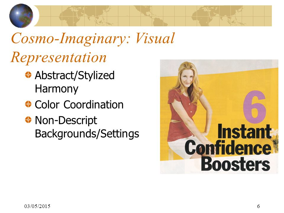 6 Cosmo-Imaginary: Visual Representation Abstract/Stylized Harmony Color Coordination Non-Descript Backgrounds/Settings