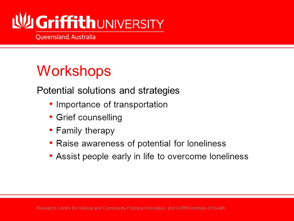 Research Centre for Clinical and Community Practice Innovation, and Griffith Institute of Health Workshops Potential solutions and strategies Importan