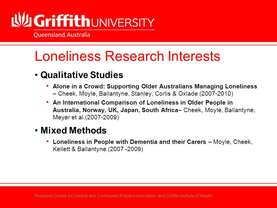 Research Centre for Clinical and Community Practice Innovation, and Griffith Institute of Health Loneliness Research Interests Qualitative Studies Alo
