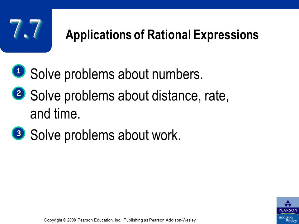 Applications of Rational Expressions Solve problems about numbers.