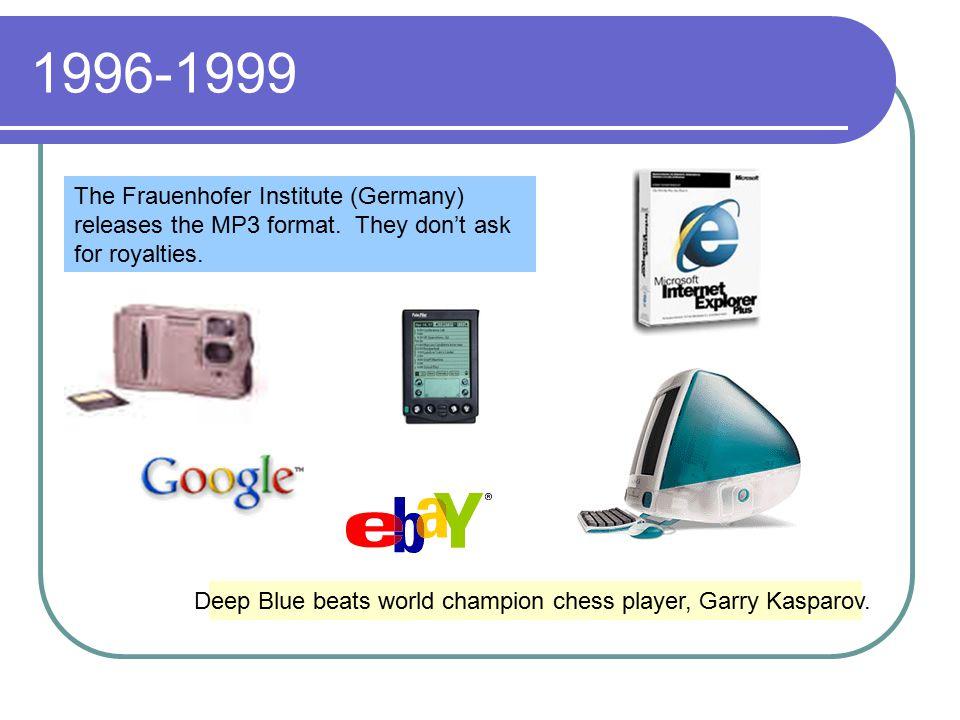 1996-1999 Deep Blue beats world champion chess player, Garry Kasparov.