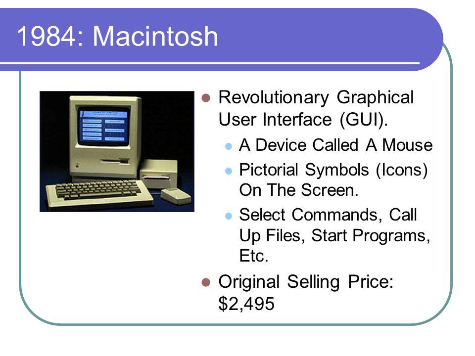 1984: Macintosh Revolutionary Graphical User Interface (GUI).