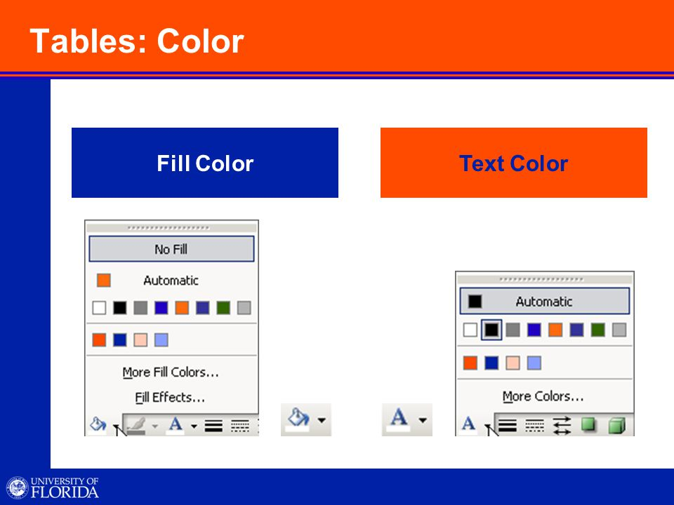 Tables: Color Fill ColorText Color
