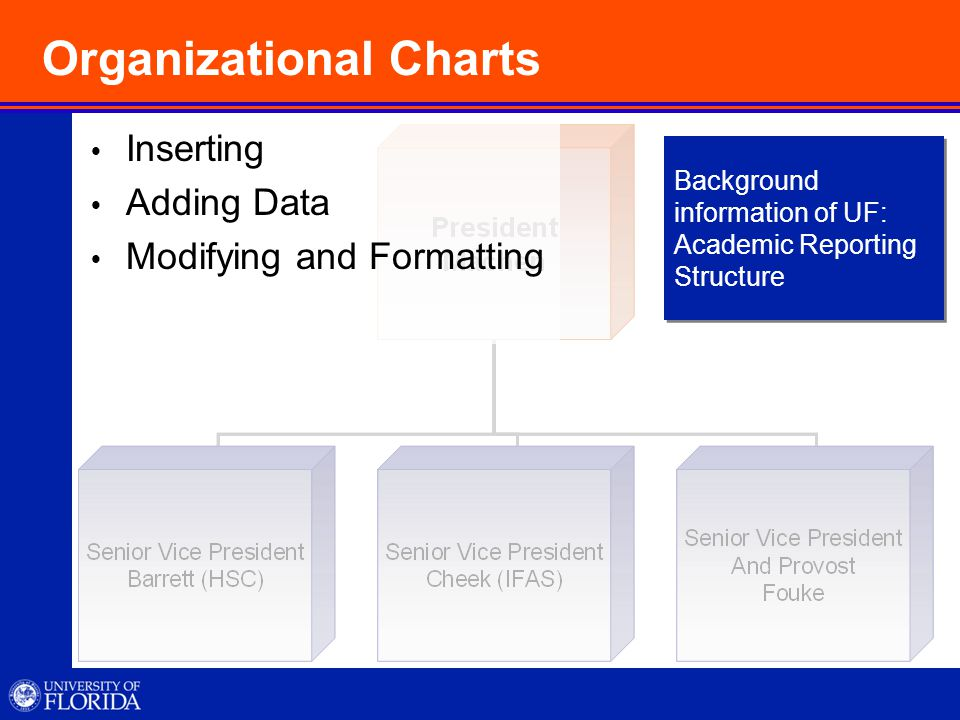Organizational Charts IInserting AAdding Data MModifying and Formatting Background information of UF: Academic Reporting Structure