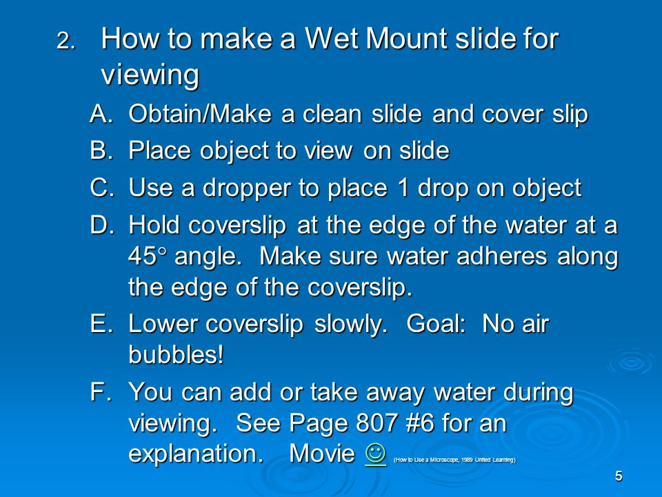 5 2. How to make a Wet Mount slide for viewing A.Obtain/Make a clean slide and cover slip B.Place object to view on slide C.Use a dropper to place 1 d