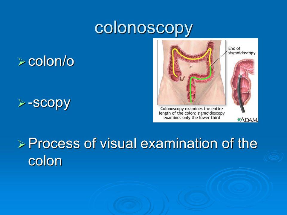 colonoscopy  colon/o  -scopy  Process of visual examination of the colon