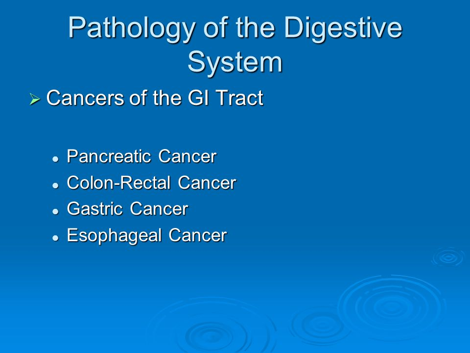 Pathology of the Digestive System  Cancers of the GI Tract Pancreatic Cancer Pancreatic Cancer Colon-Rectal Cancer Colon-Rectal Cancer Gastric Cancer